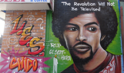 Commemorative street art in New York City, by Chico, depicting Gil Scott-Heron, the first rapper ever and first ever rap song