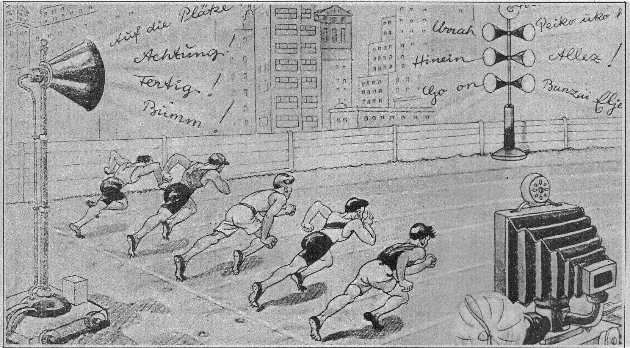 drawn people running in the Olympics