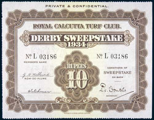 the First-Ever Sweepstake competition in Derby 1934 certificate