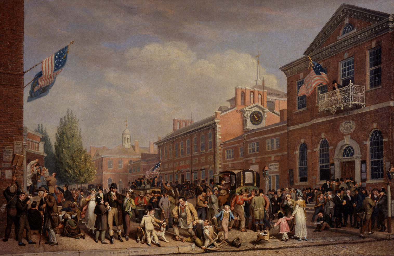 Depiction of election-day activities in Philadelphia