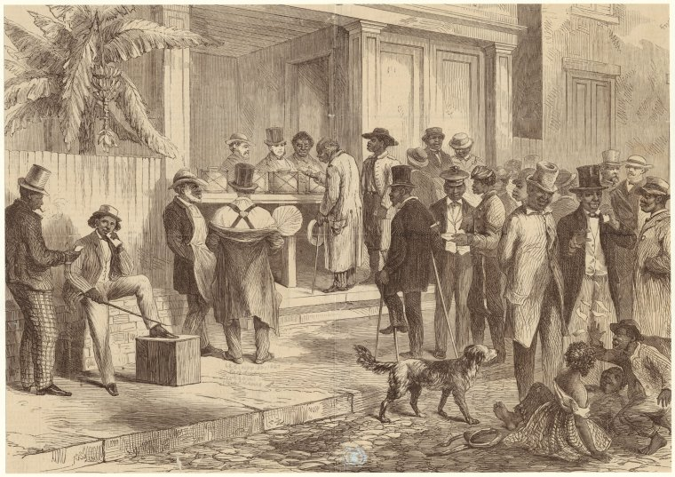 Freedmen voting in New Orleans, 1867. One of first US presidential elections.