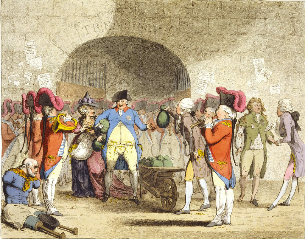 James Gillray caricature, the plentiful money bags handed to King George III